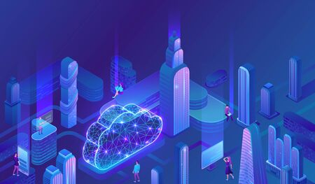 Cloud computing concept, server, smartphone, modem, futuristic city, tablet connected in neural network, isometric vector technolodgy background, modern blue design
