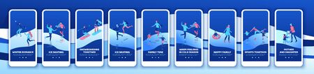 Winter sports mobile app template set, ski, snowboard,together, vertical layout, ui design, ice skating simple family, isometric minimal people illustration, vector winter sport, skating rink Ilustracja