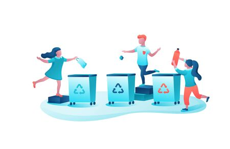 Garbage sorting concept, kids throwing trash into container, ecology vector flat illustration, cartoon children clean environment, recycle waste into dumpster