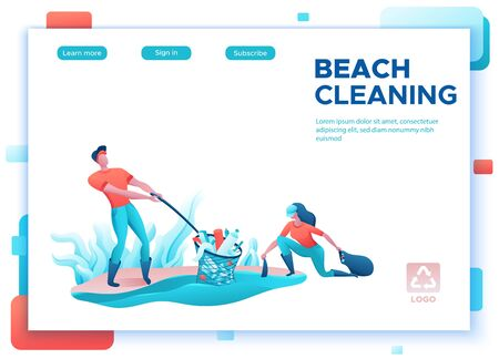 Beach coast cleanup concept, cleaning people with bag, volunteer picking garbage from water, team reduce plastic pollution, flat cartoon vector ecology illustration, landing page template Иллюстрация