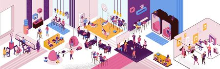 Coworking space interior, creative and office people work in open workspace, freelancer with laptop, modern environment, loft style place, painting workshop, musicians, horizontal vector illustration Фото со стока - 137352079
