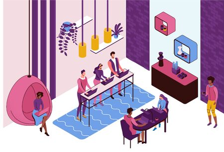 Coworking space interior, creative and office people work in open workspace, freelancer with laptop, modern environment, loft style place, vector illustration