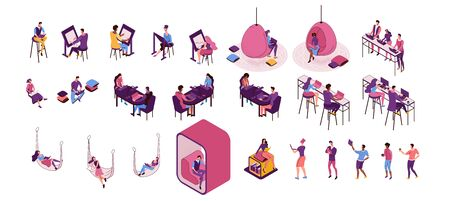 Freelancer isolated set, man working in office, lying in hammock, people with laptop in coworking space at high tables, hanging egg chair, sitting on sofa, modern graphic vector illustration Фото со стока - 135223928