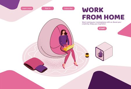 Freelancer working in office, woman with laptop in coworking space sitting in hanging egg chair, modern interior design, graphic vector illustration, landing page template Ilustracja