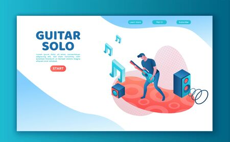 Guitar player 3d isometric infographic illustration, landing page template, man playing rock music at festival, concert show poster template, color icon Фото со стока - 135279679