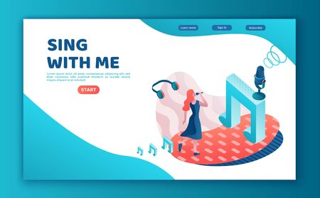 Singer contest 3d isometric landing page, vector colorful illustration, girl singing with microphone, radio person, listen music, website template, ui, ux design Ilustracja