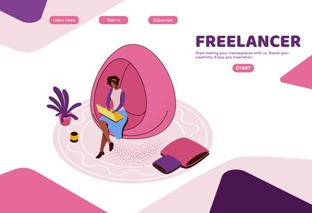 Freelancer working in office, african woman with laptop in coworking space sitting in hanging egg chair, modern interior design, graphic vector illustration, landing page template Фото со стока - 135575954