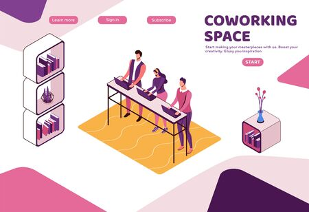 Freelancer working in office, people with laptop in coworking space at standing desk, isometric modern interior design, graphic vector illustration, landing page template