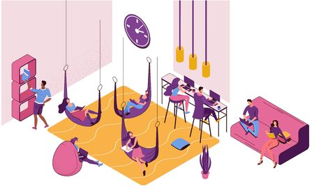 Freelancer working in office lying in hammock, people with laptop in coworking space at high tables, in bean bag chair, sitting on sofa, modern interior design, graphic vector illustration Иллюстрация