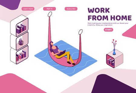 Freelancer working from home lying in hammock, relaxed woman with laptop, modern interior 3d isometric design, graphic vector illustration, landing page template