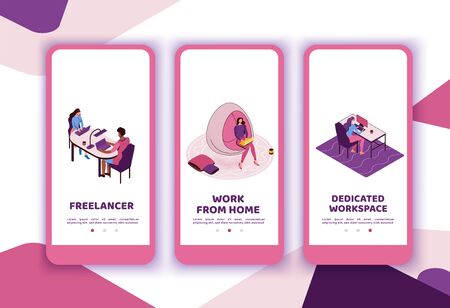 Freelancer with laptop at office workplace, creative people in coworking space, isometric modern interior design, graphic vector illustration, mobile app templates set in violet and pink colors