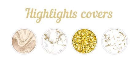Highlight cover big set, Minimal marble texture background collection, story layout, gold frame template, vector badge for shop in social media, luxury design large collection
