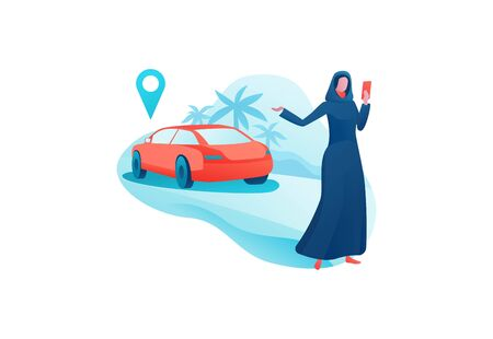 Mobile transport app design, arab girl in abaya hold smartphone, businesswoman order ride, carsharing service template, muslim people, transport sharing concept, vector cartoon character