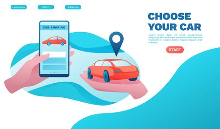 Urban transport concept, Carsharing service, rent vehicle by smartphone, businessman order ride, rental service template, mobile app, turquoise, red color, landing page, vector flat ui design Фото со стока - 136913913