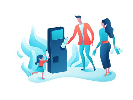 Reverse vending cartoon concept, people put plastic bottle and aluminum can into machine, ecology flat vector illustration, garbage disposal, recycling, environment protection Фото со стока - 136915398