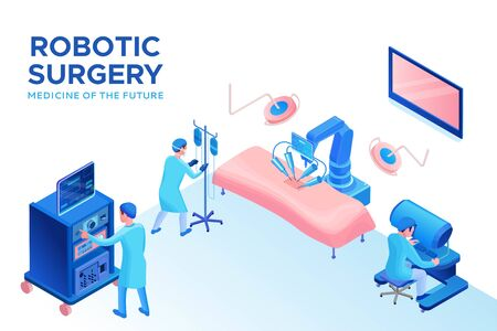 Robotic surgery operating, smart surgical robotic technology, isometric 3d vector illustration with ai and robot in medical treatment, artificial intelligence in healthcare Фото со стока - 136989995