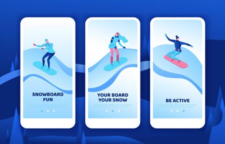 Snowboard mobile app template set, vertical layout, smartphone ui design, isometric minimal people, 3d winter vector sport man snowboarding, woman riding on mountain, simple outdoor snow games Ilustracja