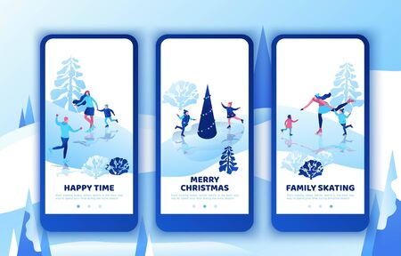 Ice skating simple family, mobile app template set, vertical layout, smartphone ui design, isometric minimal people illustration, 3d vector winter sport kids, romantic couple together, skating rink Фото со стока - 136989878