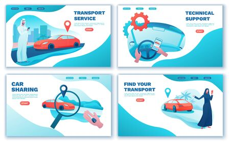 Carsharing landing page set, arab people, rent automobile, businessman order ride, rental service template, mobile app concept, man, girl, flat vector design, turquoise, red color