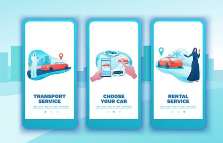 Car share mobile template set, arab people, rent automobile, businessman order ride, rental service app, smartphone concept, man, girl, flat vector design, turquoise, red color