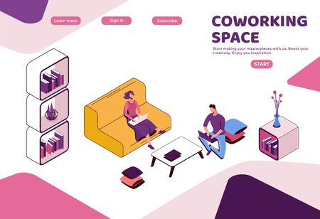 Coworking space with Freelancer sitting on sofa, man with laptop iat workplace, modern interior 3d isometric design, graphic vector illustration, landing page template