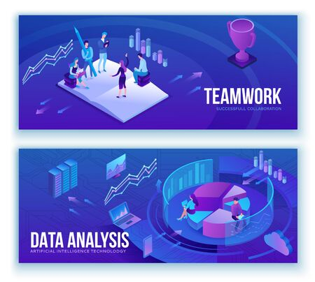 Analisi dei dati, uomini d'affari analizzano diagramma, analisi kpi, tecnologia digitale in finanza, concetto di banner di social media marketing, illustrazione isometrica di grande ricerca, sfondo 3d di lavoro di squadra