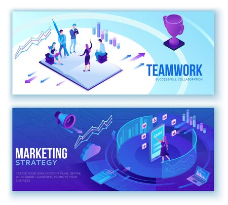 Data analysis, business people analyze diagram, kpi analytics, digital technology in finance, social media marketing banner set concept, big research isometric illustration, teamwork 3d background Ilustração
