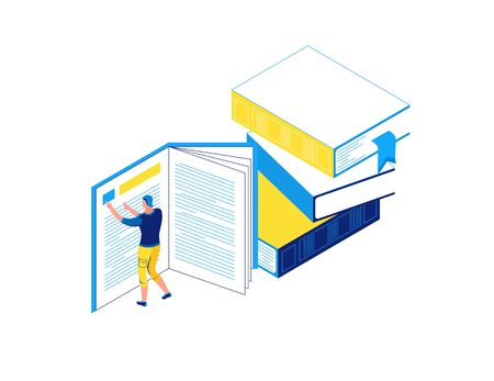 Man reading book, library isometric concept, learning people, 3d student isolated, learn lesson, school, college pupil, blue, yellow, modern creative character
