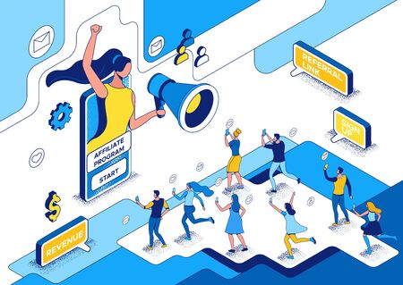 Influencer standing with megaphone and refer a friend to affiliate program, blogger and followers, people like post in social media network, 3d vector isometric illustration with outline and texture Ilustração