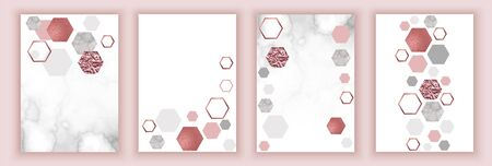 Marble rose brochure layout, corporate identity set, template or background in trendy minimalistic geometric style, stone, granite, gold texture, hexagon, vector fashion wallpaper, poster, cover