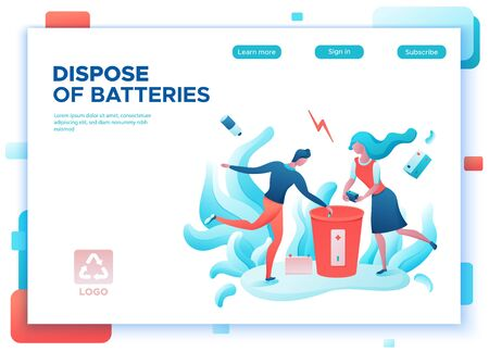 Battery recycle concept, disposal of batteries into special garbage bin, people clean environment, ecology flat cartoon environmental vector illustration, man put trash into container Banco de Imagens - 138441754