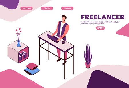Freelancer working at standing desk at home, man with laptop in coworking space at high table, modern interior design, graphic vector illustration, landing page template Ilustração