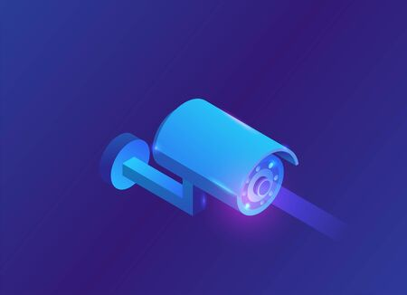 Isometric camera video 3d isometric icon, blue neon symbol of smart multimedia device Ilustração