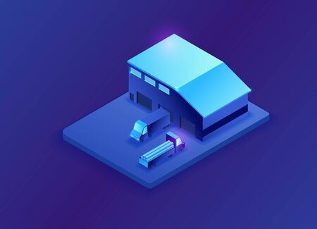 Warehouse isometric 3d illustration, neon blue storage building with trucks