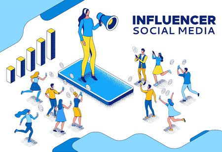 Influencer standing with megaphone and communicating with his audience, blogger and followers, people like post in social media network, 3d vector isometric illustration with outline and texture Ilustração