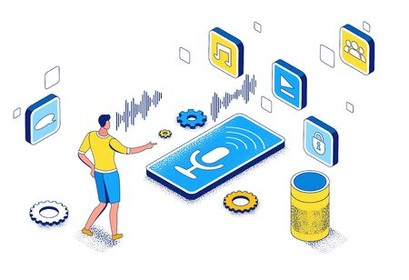 Voice control isometric 3d illustration, man recording audio message on mobile phone using smart speaker, modern communication concept, speech recognition, identification application, ai technolodgy