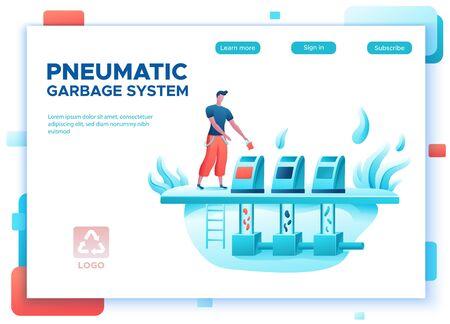 Automated vacuum garbage collection concept, landing page template Ilustração