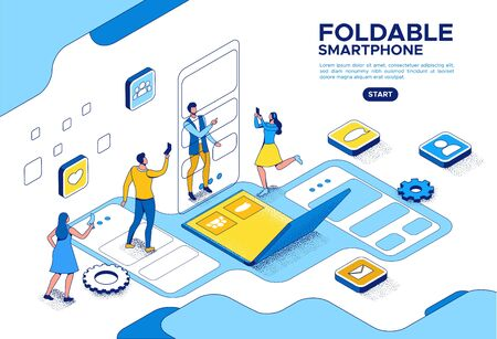 Foldable phone isometric concept with people using flexible smartphone, cartoon characters with futuristic gadgets, blue and yellow composition, 3d vector illustration