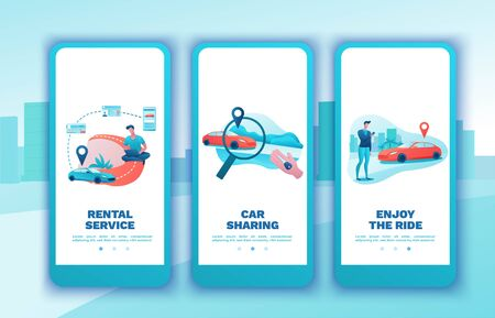 Carsharing mobile template set, cartoon people, rent automobile, businessman order ride, rental service mobile app, smartphone concept, man, girl, flat vector design, turquoise, red color Banco de Imagens - 138914132