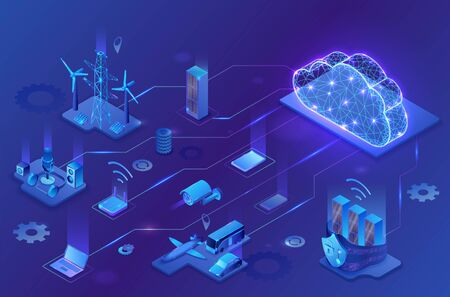 Internet of things cloud infographic, neon blue isometric 3d illustration with smart technology icons, computer network, night glowing background