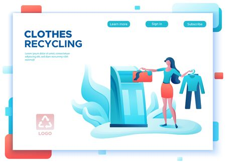 Clothes recycling concept, girl puts bag into container, textile recycle, people donate clothing, ecology flat cartoon illustration, eco background, landing page template Ilustração