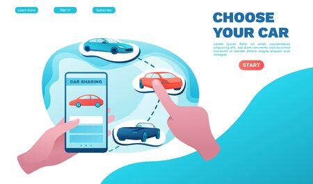 Urban transport landing page concept, carsharing service, rent vehicle by smartphone, businessman order ride, rental service template, mobile app, flat vector ui design, turquoise, red color Banco de Imagens - 140984754