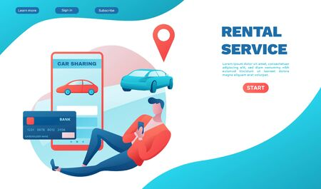 Rental service landing page, car share, businessman order ride, Carsharing service template, mobile app, transport sharing concept, flat vector, turquoise, red color, ui design