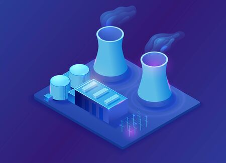 Nuclear power plant isometric 3d illustration, neon blue electric station building, energy factory