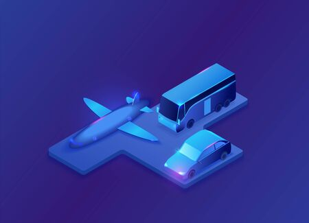 Transport icons set with airplane, car, bus, neon blue 3d isometric vehicle symbols