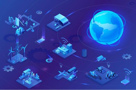 Industrial internet of things  infographic illustration, blue neon concept with factory, electric power station, globe 3d isometric icon, smart transport system, mining machines, data protection