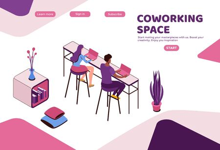 Freelancer working in office, people with laptop in coworking space at high tables, isometric modern interior design, graphic vector illustration, landing page template Ilustração