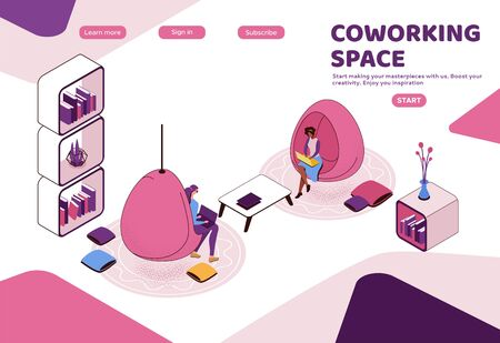 Freelancer working in office, woman with laptop in coworking space sitting in hanging egg chair, modern interior design, graphic vector illustration, landing page template