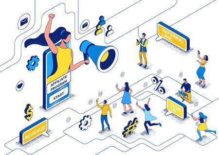 Influencer, der mit Megaphon steht und einen Freund an Partnerprogramm, Blogger und Follower verweist, Leute wie Post in Social Media-Netzwerken, isometrische 3D-Vektorillustration mit Umriss und Textur