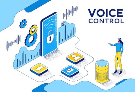 Voice control isometric 3d illustration, girl recording audio message on mobile phone using smart speaker, modern communication concept, speech recognition, identification application, ai technolodgy Ilustração